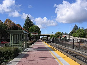 San Antonio station (Caltrain) - Looking north along the southbound platform, November 10, 2012