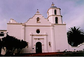Mission San Luis Rey de Francia - Mission San Luis Rey de Francia as it appeared in 1986. In 1841, French explorer Eugene Duflot de Mofras produced a sketch of the Mission that depicted a second campanario, thereby supporting the theory that two bell towers were planned, but never completed; the lone tower was also used as a lookout post.