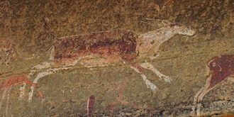 Drakensberg - San rock painting of an eland in a Clarens Formation cave in the UKhahlamba Drakensberg Park of KwaZulu-Natal close to the Lesotho border.