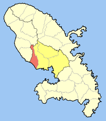 Location of the commune (in red) within Martinique