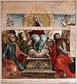 Scuola pistoiese, madonna della cintola coi ss. pietro, tommaso, giovanni battista e leonardo (e madonna della misericordia nel rilievo), xvi secolo.jpg