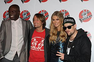 The Voice (Australian TV series) - Coaches (series 1): Seal, Keith Urban, Delta Goodrem, and Joel Madden.