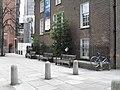 Seats outside Great St Helen's - geograph.org.uk - 1833965.jpg