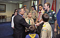 Secretary of Defense Leon E. Panetta visits with members of a delegation of Cub Scouts and Boy Scouts from across the country Feb. 13, 2012, at the Pentagon 120213-D-NI589-114.jpg