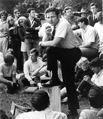 Birch Bayh - Bayh speaking on a college campus, ca. 1970s.