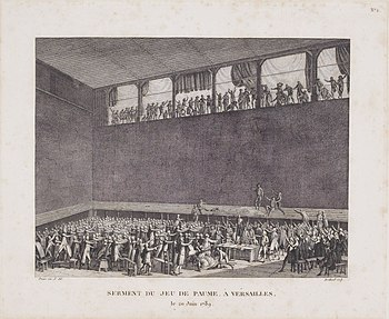 Sketch by Jacques-Louis David of the National Assembly making the Tennis Court Oath