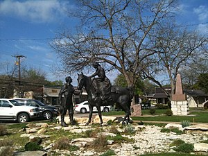 Somervell County, Texas - Settlers Memorial bronze work on lawn of the Somervell County, Texas courthouse, Glen Rose, Texas, April 1, 2010.