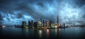 Šanhaja: Shanghai skyline at night, panoramic. China, East Asia-2