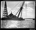 Sheerlegs crane probably salvaging the wreck of Sydney ferry GREYCLIFFE, November 1927 (8068923305).jpg