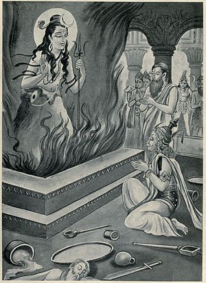 Daksha yajna - Shiva appears as Parabrahman in the scene from the Mahabharata.