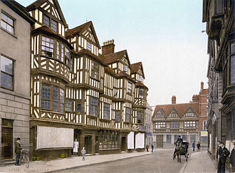 Shrewsbury - Ireland's Mansion circa 1900; at the eastern end of Shrewsbury High Street, the building was built in 1596 for wealthy wool trader Robert Ireland. Still extant.