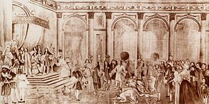 Siamese embassy to France (1686) - Kosa Pan presents King Narai's letter to Louis XIV at Versailles, September 1, 1686.
