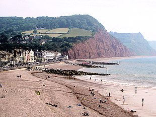 Looking east along Sidmouth beach