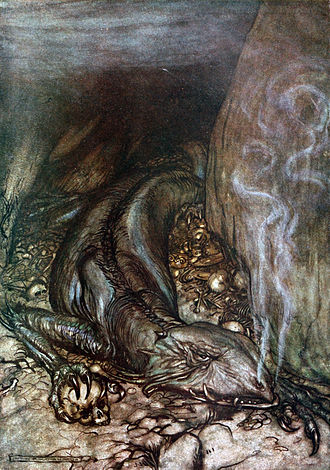 Fafnir - Fafnir guards the gold hoard in this illustration by Arthur Rackham to Richard Wagner's Siegfried.