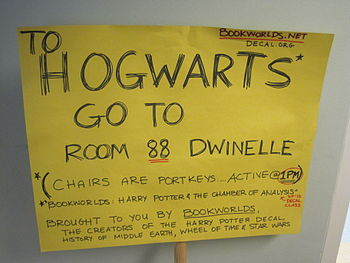 A sign for a preview for Harry Potter and the ...