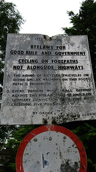 "By-law - ""Byelaws for good rule and government"" in Ripon, North Yorkshire"