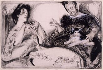 """Rose O'Neill - """"Signs"""", a cartoon for Puck by Rose O'Neill, 1904. Ethel: """"He acts this way. He gazes at me tenderly, is buoyant when I am near him, pines when I neglect him. Now, what does that signify?"""" Her mother: """"That he's a mighty good actor, Ethel."""""""