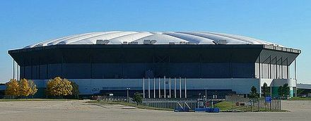 The Pontiac Silverdome, Michigan, where the band set a record for the largest solo indoor attraction in 1977 with an attendance of 76,229 Silverdome 2.jpg
