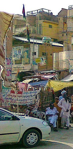 Sindhudesh - Banner in support of Sindhudesh movement, Shikarpur, Sindh.