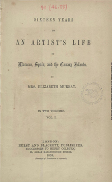 Portada del libro de Elizabeth Heaphy de Murray, Sixteen Years of an Artist's Life in Morocco, Spain and the Canary Islands, en el que escribió el relato de sus viajes.