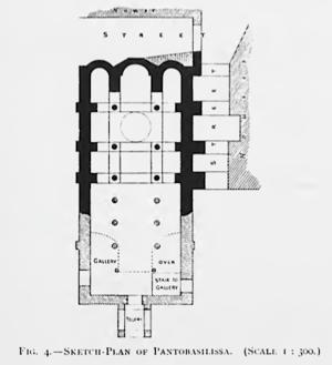 Panagia Pantobasilissa Church, Tirilye - Image: Sketch Plan of Pantobasilissa, Triglia (FW Hasluck)