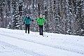 Skiers navigate a rough stretch near the park road on their way to a trail (5f78aa93-3670-46e9-a7a8-982a49402fc5).jpg