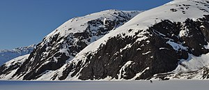 Chugach National Forest - Image: Skiing across Portage Lake