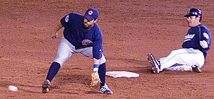 Slide (baseball) -  A player for the San Diego Padres slides into second base during an exhibition game versus the Chicago Cubs on March 31, 2006