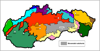 Divisions of the Carpathians - The Slovak Ore Mountains within Slovakia in grey