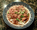 Smothered turkey rice and gravy HRoe 2012.jpg