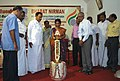 Smt. V. Shobana, District Collector, lighting the lamp marking the inauguration of the Bharat Nirman Public Information Campaign, at Karur, Tamil Nadu. Dr. Thambidurai, MP, Shri Kamaraj, MLA.jpg