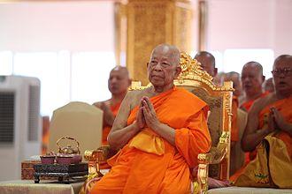 Dhammakaya Movement - Somdet Chuang Varapuñño from Wat Paknam Bhasicharoen presiding over a ceremony