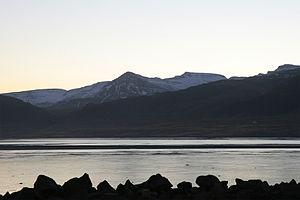 Borgarnes - Southeast from Borgarnes toward Skarðsheiði over Borgarfjörður, November 2007.