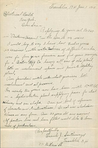 Application for employment - A job application letter dated January 1, 1913
