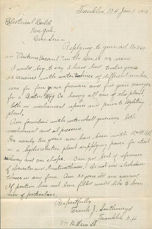 a job application letter dated january 1 1913