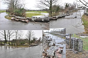 2009 Great Britain and Ireland floods - Damage done to the Southwaite Mill Bridge