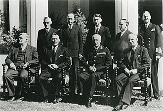 Australia–Russia relations - Soviet Ambassador Andrey Vlasov presents his credentials at Government House, Canberra, March 1943. Front (left to right): H. V. Evatt, Andrey Vlasov, Governor-General Lord Gowrie, Prime Minister John Curtin. Back (left to right): Lt-Col W. R. Hodgson (?), Soldatov (?), Schibatev (?), Karpunin, L. S. Bracegirdle.