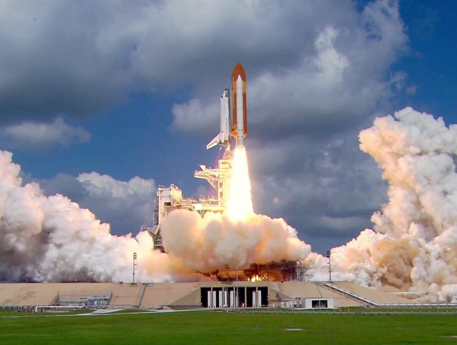 Space Shuttle Discovery leaps from Launch Pad 39B on the Return to Flight mission STS-114