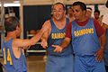 Special Olympics basketball players share congratulations during a game at Joint Base Pearl Harbor-Hickam, Hawaii, Dec. 4, 2010 101204-F-TP543-127.jpg