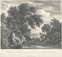 Engraving by Loos of a Jacob van Ruisdael painting in his collection, page from the 1827 catalog (Source: Wikimedia)