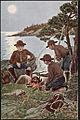 Speidergutter ved bålet Boy scouts camping.jpg