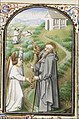 St. Antony Abbot of Egypt holding a rosary and a staff, with an angel - Book of hours Simon de Varie - KB 74 G37 - 081v min.jpg
