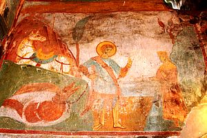 Achi Monastery - St. George and a defeated dragon. A fresco from Achi.