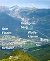 St. Georgenberg, Fiecht and Wolfsklamm viewn from Kellerjoch.jpg