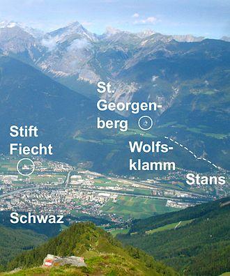 St. Georgenberg-Fiecht Abbey - View of Fiecht and the Georgenberg from the Kellerjoch