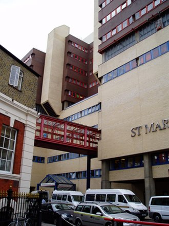 St Mary's Hospital, London - St Mary's Hospital QEQM building (above) and old section (below).