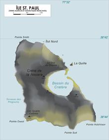 Mapo de la insulo Sankta Paŭlo
