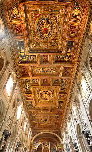 The decorated ceiling of the Basilica of St. J...