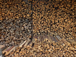 Wood fuel - A stack of split firewood in Japan