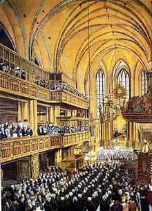 Gottesdienst für die ersten preußischen Stadtverordneten im Jahr 1808 in der Nicolaikirche in Berlin (Quelle: Wikimedia)